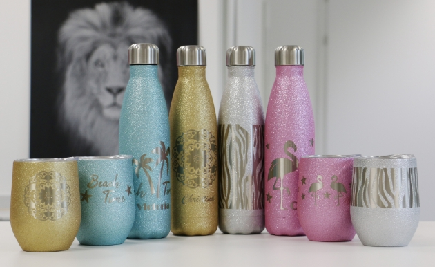 New engravable gifts available from Trotec including these glitter bottles