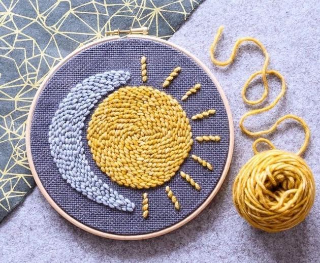 Modern hoop embroidery